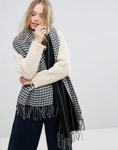 Черно-белый шарф Yumi - Черный