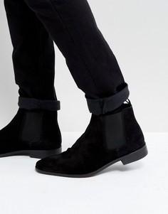 Черные замшевые ботинки челси Dune - Черный
