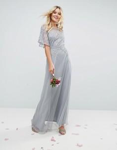 Декорированное платье макси с кружевными вставками и рукавами клеш ASOS WEDDING - Мульти