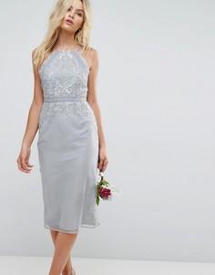 Декорированное платье-футляр миди с кружевной отделкой ASOS WEDDING - Мульти