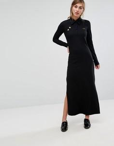 Платье макси из пике с воротником в стиле ретро Fred Perry Bella Freud - Черный