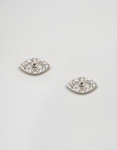 Серьги-гвоздики с камнями Pilgrim - Серебряный