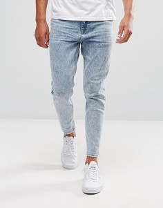 Выбеленные состаренные джинсы суженного книзу кроя ASOS - Синий