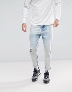 Голубые суженные книзу мраморные джинсы ASOS - Синий