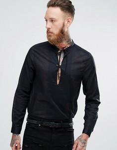 Полупрозрачная хлопковая рубашка стандартного кроя с V-образным вырезом ASOS - Черный