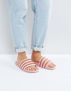 Розовые бархатные шлепанцы adidas Originals Velvet Vibes - Розовый