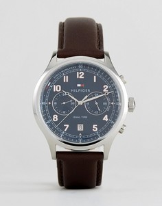 Часы с хронографом и коричневым кожаным ремешком Tommy Hilfiger 1791385 Emerson - Коричневый