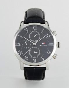 Черные часы с кожаным ремешком Tommy Hilfiger 1791401 Kane - Черный