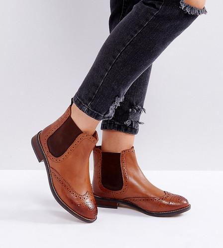 Кожаные ботинки челси на плоской подошве для широкой стопы Dune - Рыжий