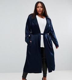 Длинное пальто с поясом Elvi - Темно-синий