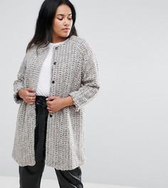 Шерстяное пальто без воротника Elvi - Кремовый