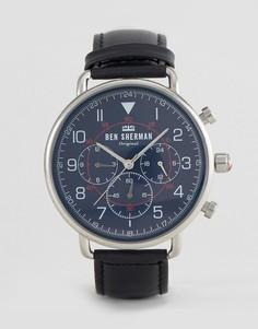 Часы с черным кожаным ремешком Ben Sherman WB068UB - Черный