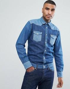 Джинсовая рубашка в стиле вестерн Wrangler Peter Max - Синий