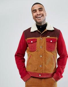 Вельветовая куртка колор блок в стиле вестерн с отделкой из шерпы Wrangler Peter Max - Коричневый