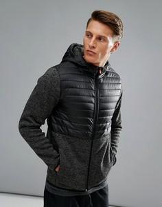 Стеганая куртка на молнии с флисовыми вставками Jack & Jones Tech - Серый