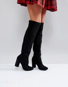 Черные ботфорты на блочном каблуке Glamorous - Черный