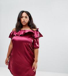 Платье на одно плечо с бантом Rage Plus - Фиолетовый
