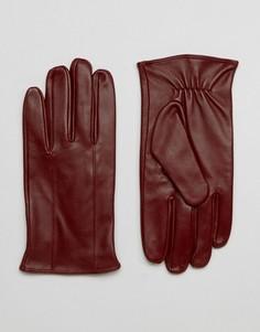 Темно-бордовые кожаные перчатки Barneys - Красный Barneys Originals