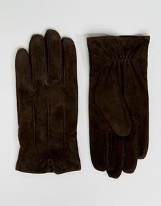 Коричневые замшевые перчатки Barneys - Коричневый Barneys Originals