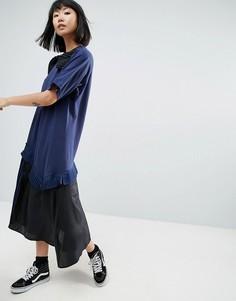 Платье с плиссированными оборками и асимметричным подолом ASOS WHITE - Темно-синий