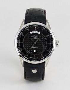 Часы с черным кожаным ремешком Roamer - Черный