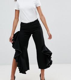 Черные джинсы прямого кроя с каскадными оборками ASOS PETITE - Черный