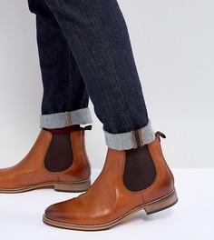 Коричневые кожаные ботинки челси для широкой стопы ASOS - Рыжий