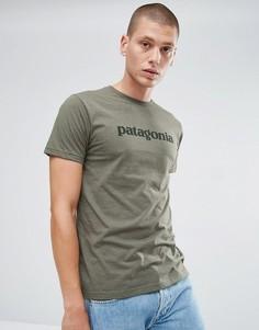 Зеленая облегающая футболка с логотипом Patagonia - Зеленый