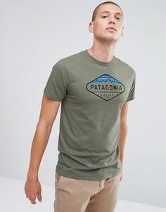 Серая меланжевая футболка Patagonia - Зеленый