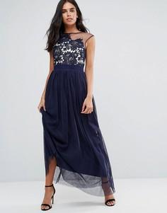 Полупрозрачное платье макси со вставкой кроше Little Mistress - Темно-синий