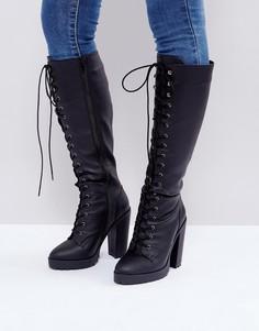 Ботинки на каблуке и шнуровке ASOS CAPRICE - Черный