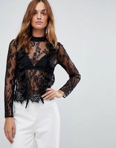 Кружевная блузка с оборками ASOS - Черный
