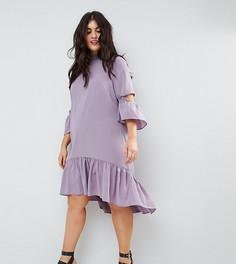 Чайное платье с оборками ASOS CURVE - Фиолетовый