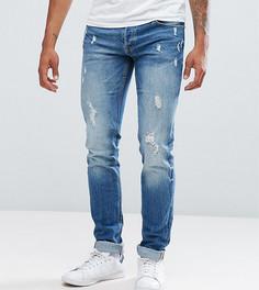 Узкие джинсы с потертой отделкой Jack & Jones TALL Intelligence - Синий