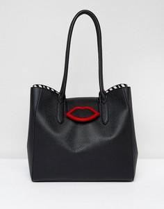 Черная сумка-тоут с откидным верхом Lulu Guinness - Черный