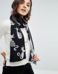 Жаккардовый шарф с кошками Alice Hannah - Черный