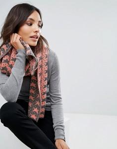 Жаккардовый шарф со звездами Alice Hannah - Коричневый