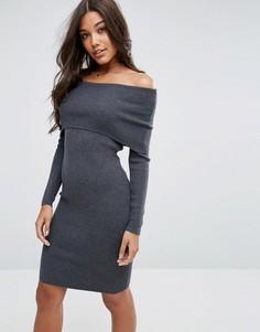 Трикотажное платье миди с широким вырезом ASOS - Серый