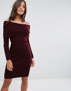 Трикотажное платье миди с широким вырезом ASOS - Красный