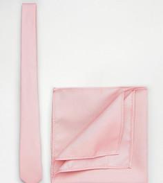 Бледно-розовые галстук и платок для нагрудного кармана ASOS TALL - Розовый