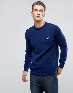Темно-синий джемпер из овечьей шерсти Lyle & Scott Premium - Темно-синий
