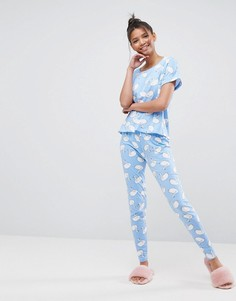 Пижамные леггинсы и футболка с принтом лебеди ASOS - Мульти