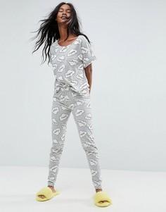 Пижамный комплект из футболки и леггинсов с принтом облаков ASOS - Мульти