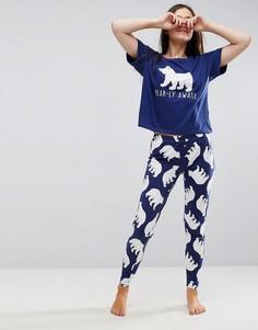 Пижамная футболка и леггинсы с принтом ASOS - Мульти