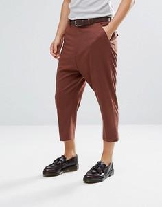 Суженные книзу красно-бурые строгие брюки заниженного кроя с добавлением шерсти ASOS - Рыжий