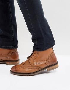 Светло-коричневые кожаные ботинки-броги Silver Street - Рыжий