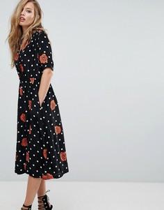 Платье на пуговицах в горошек с цветами Diesel - Черный