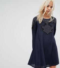Свободное платье с завязкой на спине и отделкой бисером Religion - Синий