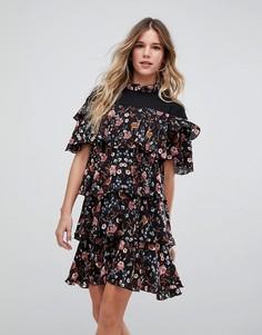 Платье с цветочным принтом и рюшами Vero Moda - Мульти