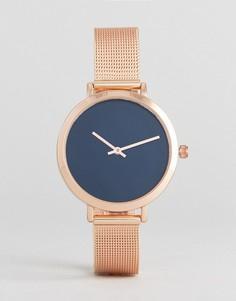 Часы цвета розового золота с сетчатым браслетом ASOS - Медный